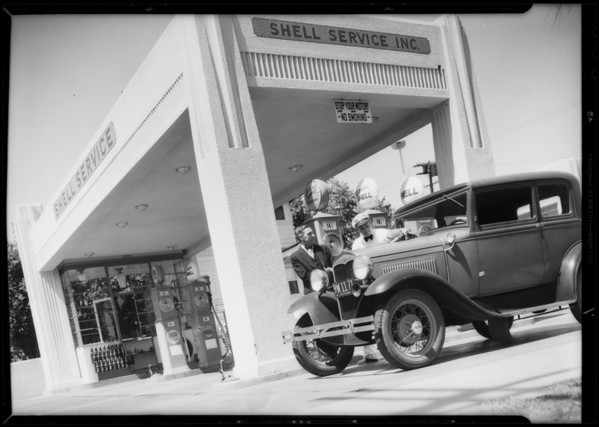 A.I. Norell of San Diego endorses super Shell, Southern California, 1933