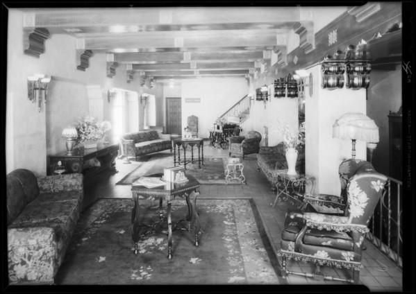 Teris Hotel, interiors, 1254 West 6th Street, Los Angeles, CA, 1932
