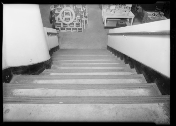 Famous Department Store stairs and exterior of sidewalk, Southern California, 1931
