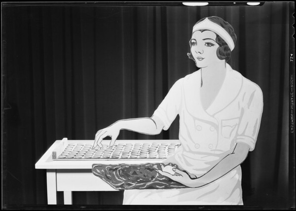 Girl candy maker cut out, Southern California, 1931