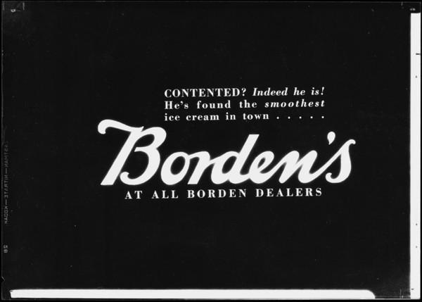 Reverse copy for roto, Borden's, Southern California, 1932