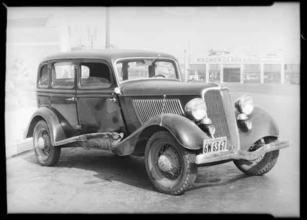 Ford sedan, W.H. Garrison, owner, Southern California, 1934