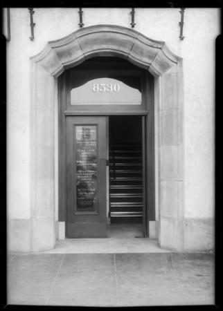 Entrance to building, 8530 South Vermont Avenue, Los Angeles, CA, 1932