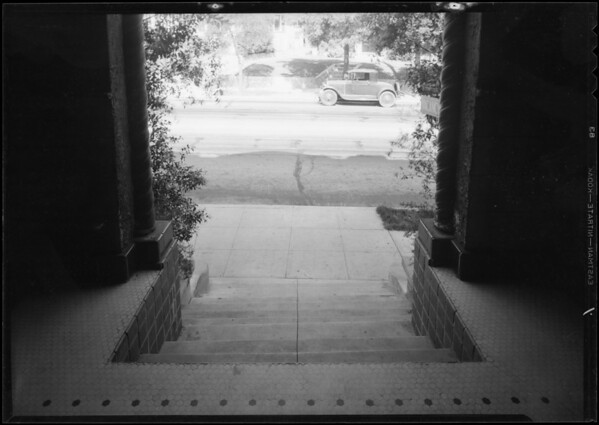 Steps leading to apartment house, 443 North Hoover Street, Los Angeles, CA, 1932