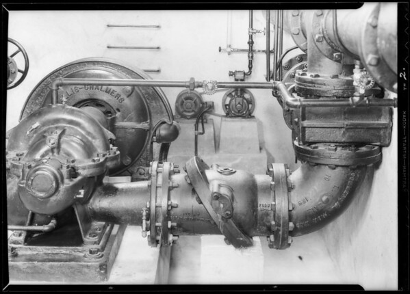 Installation in Beverly Hills Water Co. pump house, Chapman Valve Co., Southern California, 1933