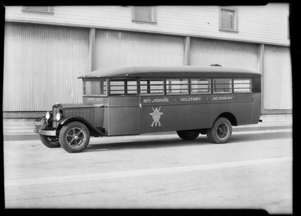 St. John's Military Academy and Wonder Bread trucks, Southern California, 1931