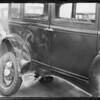 2 shots of wrecked Studebaker, 1 shot of wrecked Dodge, Southern California, 1933