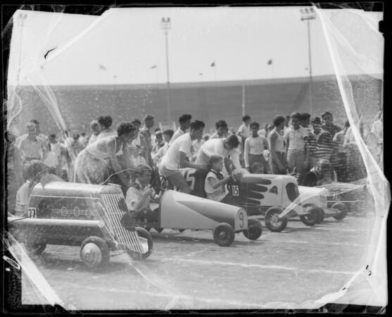 Push car race at Gilmore Stadium, Los Angeles, CA, 1935