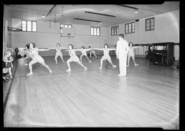 Gym class, Mr. Brown, Physical Culture Club, Southern California, 1932