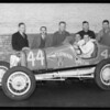 Ford V8 race car and driver and mechanics, Southern California, 1934