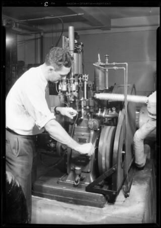Auto knock testing machine, Southern California, 1931
