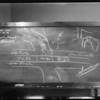 Blackboard showing intersection San Vicente & La Brea, Southern California, 1931