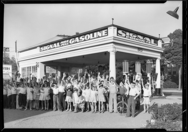Tarzan group of children, station at North Normandie Avenue and Santa Monica Boulevard, Los Angeles, CA, 1933