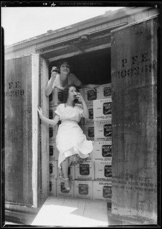 Carload of wine, publicity for World's Fair, Southern California, 1933