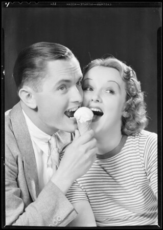 Girl and man eating ice cream cone, Southern California, 1932