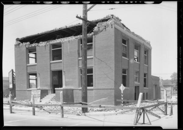 Watts City Hall, showing earthquake damage, Los Angeles, CA, 1933