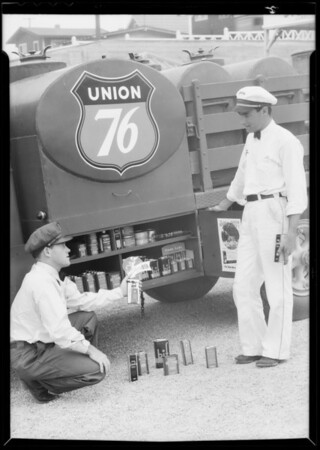 Trucks with accessories, Southern California, 1934