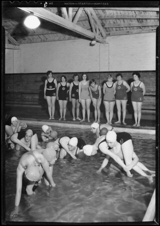 Swimming class, Carters pool, Southern California, 1932