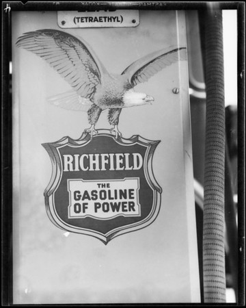 Various gasoline companies' signs, Southern California, 1935