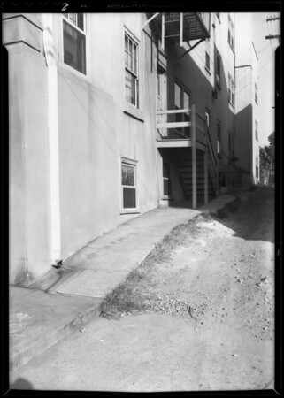Rear alley to Cummings Apartments, 1348 Ingraham Street, Los Angeles, CA, 1933