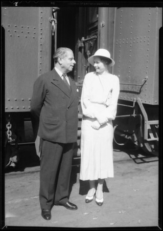Arrival of Max Reinhart at Southern-Pacific Railroad Depot, Southern California, 1934