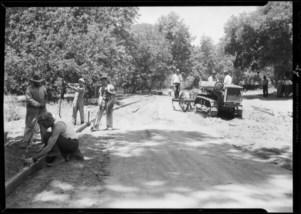 Road work in canyon, Southern California, 1932