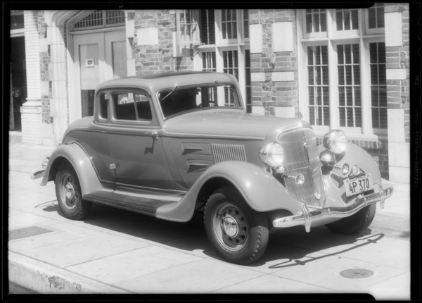Plymouth coupe after repaired, Southern California, 1934