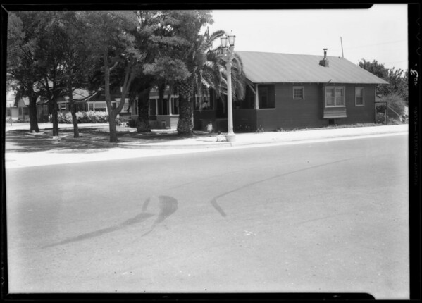 Skid marks, East 40th Place & South San Pedro Street, Los Angeles, CA, 1933