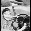 Genevieve Tobin & automobile radio, Southern California, 1933