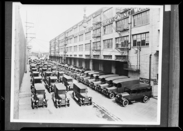 Barker Brothers fleet of trucks and warehouse, Southern California, 1932