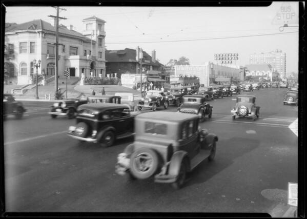 Wilshire Boulevard traffic, Los Angeles, CA, 1934