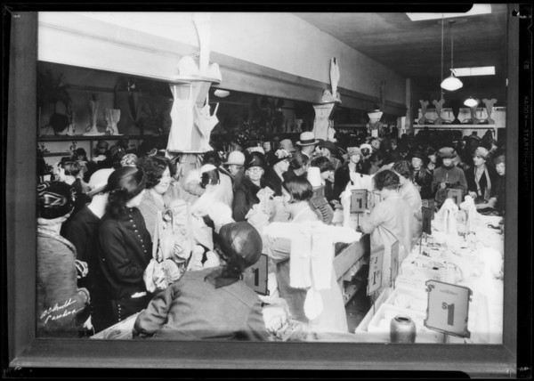 Crowd in basement, Southern California, 1932