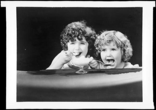 Girls eating ice cream, Southern California, 1932