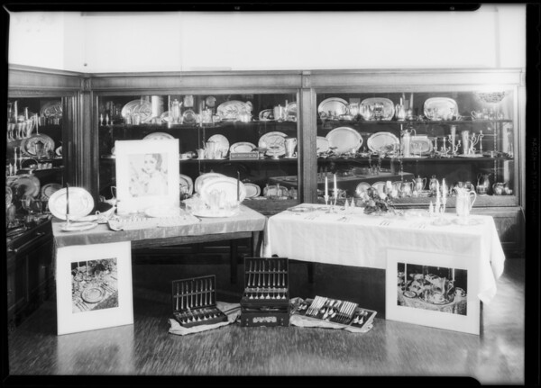 Table set up of silverware, Southern California, 1931