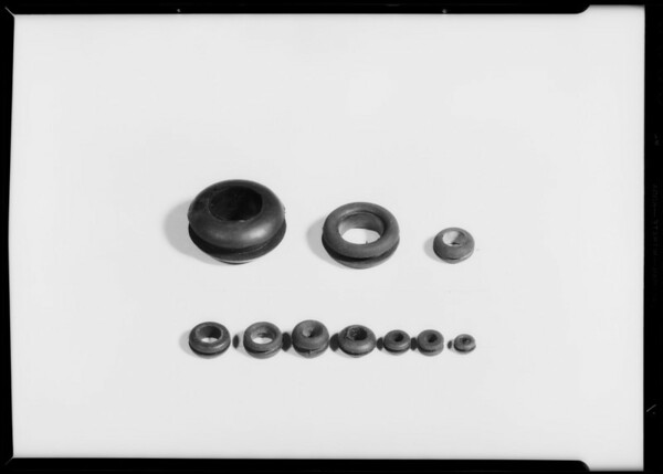 Door bumper, faucet valve, gasket stripping, grommets, stoppers, Southern California, 1933