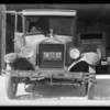 Ford coupe hit by milk truck, Western Dairy vs Seward Long, Southern California, 1931