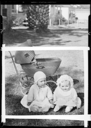 Baby Eleanor & doll & carriage, Southern California, 1931