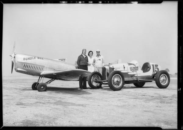 Babe Stapp and Gregg's ship, Clover Field [Santa Monica Airport], Santa Monica, CA, 1933