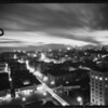 Night view of downtown Los Angeles from city hall, Los Angeles, CA, 1931