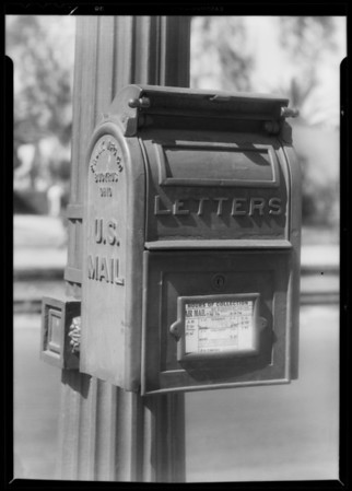 U.S. mail box, Southern California, 1931