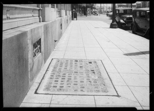 Sidewalk at Santa Barbara and Vermont where woman fell, Southern California, 1932