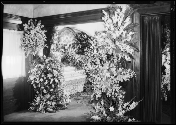 Flowers at grave and mortuary, Southern California, 1932