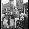 Black & Harris at service station, Southern California, 1932