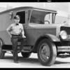 Fleet of May Co. trucks, Southern California, 1933