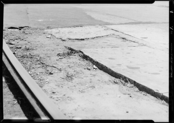 Broken landing platform at Central and Gage Streets, Los Angeles Railway vs. M.C. Cuistion, Southern California, 1933