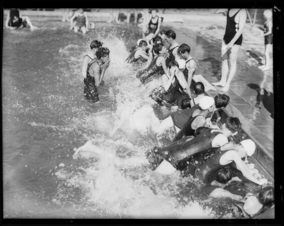 Opening of 1931 summer season, pool at North Broadway, Southern California, 1931