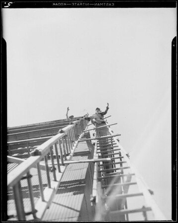 Scaffolding on tower, Los Angeles, CA, 1933