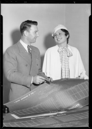 Miss Pretto Bell purchasing first box seat, Southern California, 1933