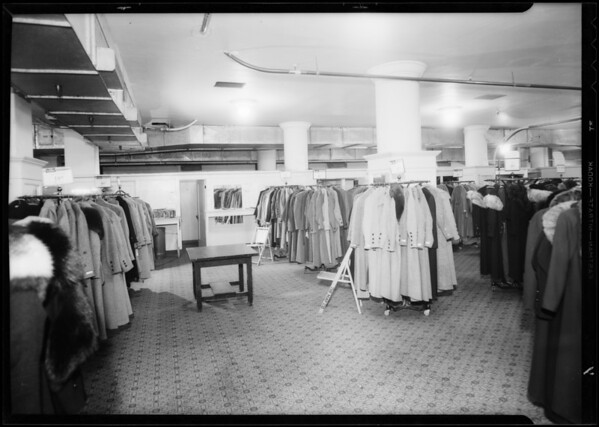 Basement coat department, May Co., Southern California, 1933