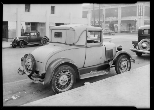 Ford coupe and Buick mark, Southern California, 1934